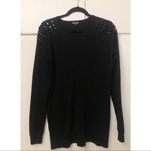 ✨ Express sweater with black rhinestone features